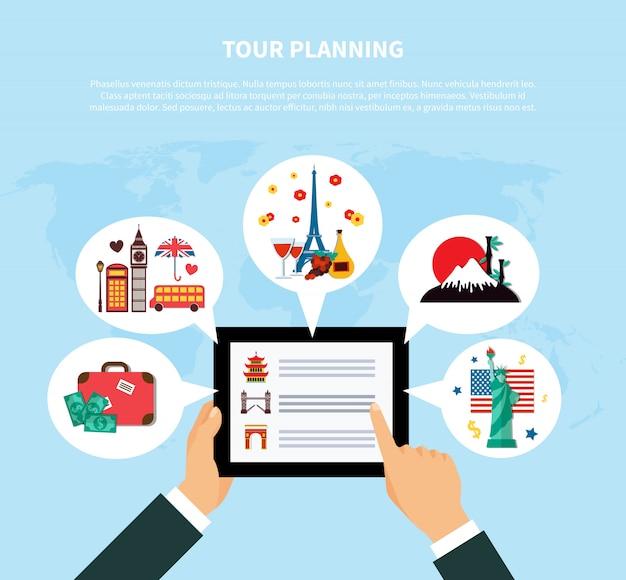 Conceito de design de planejamento turístico