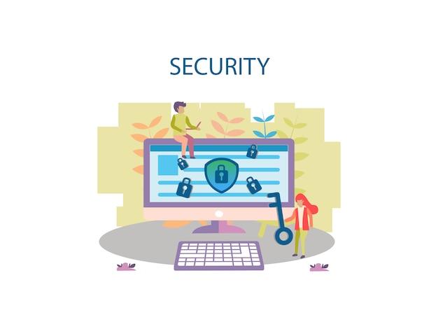 Conceito de design de plano de fundo de segurança de internet para a página da web