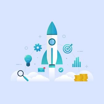 Conceito de design de produto de lançamento de projeto de startup de negócios