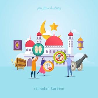 Conceito de design de ramadan kareem com pessoas pequenas