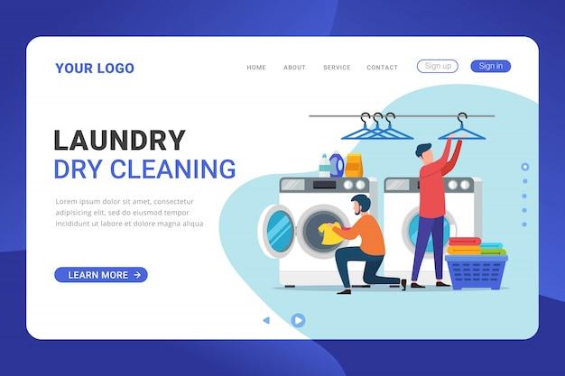Conceito de design de serviço de lavanderia de modelo de página de destino