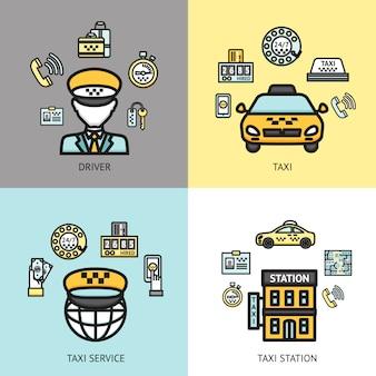 Conceito de design de serviço de táxi plana