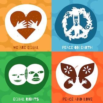 Conceito de design de símbolos de amizade internacional com igualdade de direitos, paz e amor na terra isolada