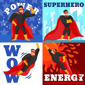 Conceito de design de super-heróis