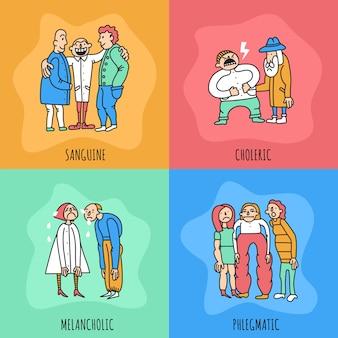 Conceito de design de tipos de temperamento, incluindo pessoas com comportamentos diferentes durante a comunicação, isolados na ilustração de fundo colorido