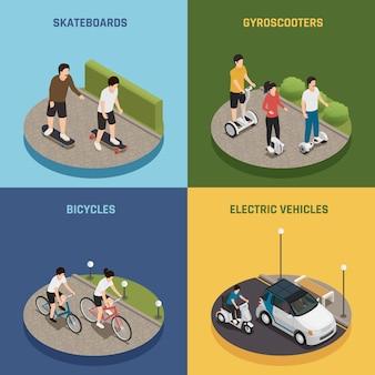 Conceito de design de transporte ecológico 2x2