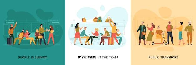 Conceito de design de transporte público com símbolos de trem e metrô isolados no plano