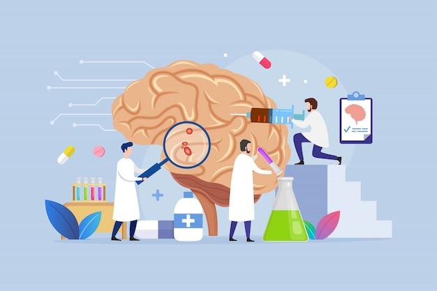 Conceito de design de tratamento de doença cerebral com pequenas pessoas