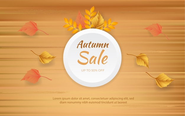 Conceito de design de venda de outono com folhas na placa de madeira
