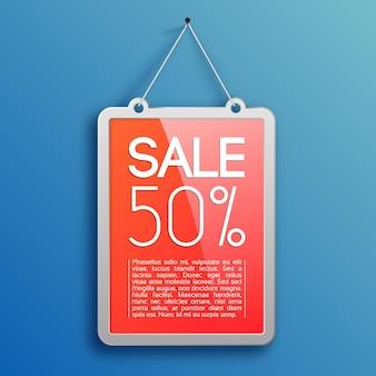 Conceito de design de venda promocional com moldura de publicidade pendurada em uma unha no azul