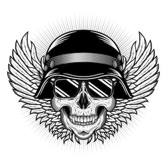 Conceito de design de vetor detalhado de cabeça de crânio com capacete e asas