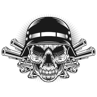 Conceito de design de vetor detalhado de cabeça de crânio com capacete e ilustração de arma Vetor Premium
