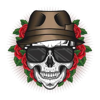 Conceito de design de vetor detalhado de cabeça de crânio com chapéu e rosa