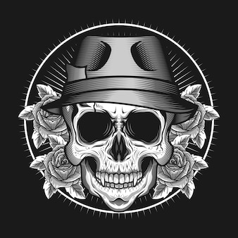 Conceito de design de vetor detalhado de cabeça de crânio com chapéu e rosas Vetor Premium