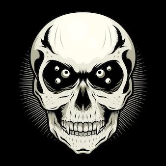 Conceito de design de vetor detalhado de skull head with eyes Vetor Premium