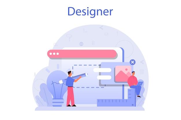 Conceito de design. design gráfico, web, impressão. desenho digital com ferramentas e equipamentos eletrônicos.