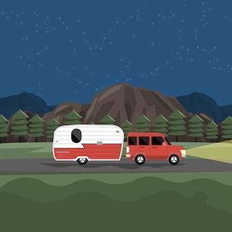 Conceito de design diário de viagem campista com carros rv