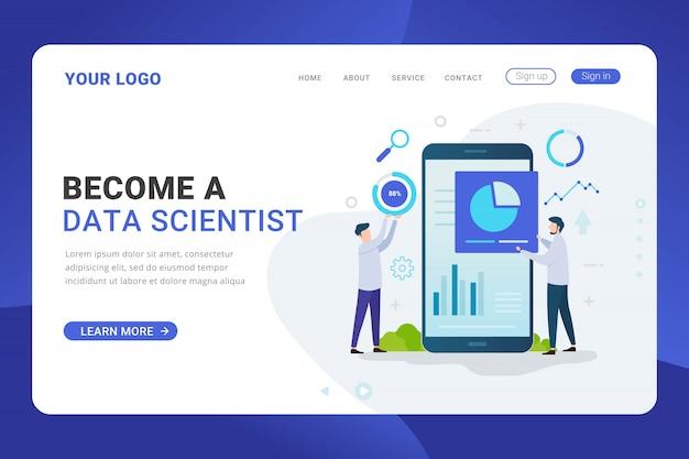 Conceito de design do cientista de dados do modelo de página de destino