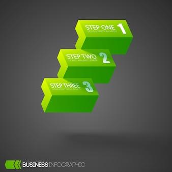 Conceito de design do infográfico da web com blocos horizontais verdes claros três opções