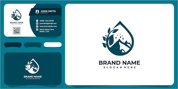 Conceito de design do logotipo da montanha de água da gota. inspiração de design de logotipo drop water nature com cartão de visita