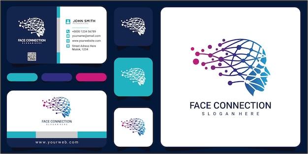 Conceito de design do logotipo de conexão de rosto da web. design de logotipo de conexão. modelo de design de logotipo de dados de rosto com cartões de visita