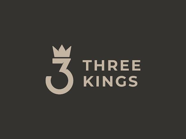 Conceito de design do logotipo de três reis