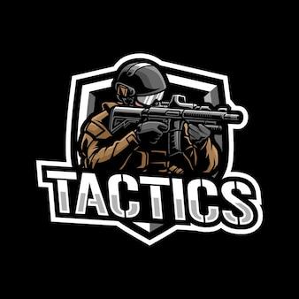 Conceito de design do logotipo do mascote do tactics