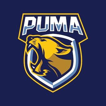 Conceito de design do logotipo do mascote puma