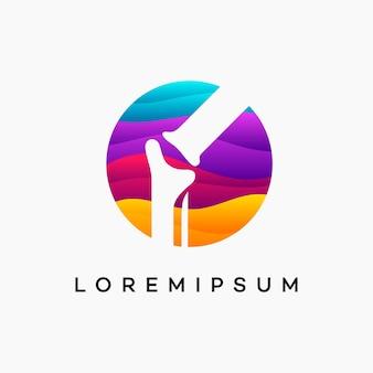 Conceito de design do logotipo ondulado moderno do osso do joelho, modelo de logotipo para cuidados com o joelho, ícone do símbolo do logotipo health bone