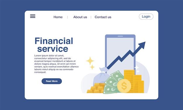 Conceito de design do modelo de página de destino de serviço financeiro.