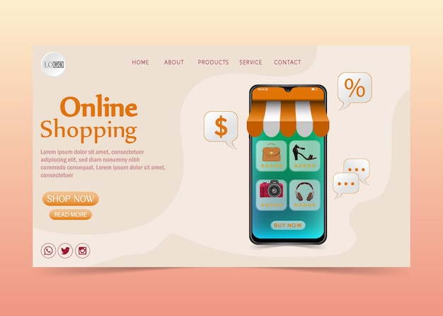 Conceito de design do shopping online no aplicativo móvel