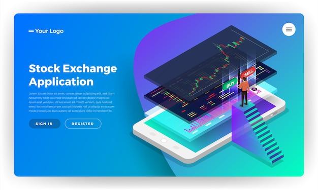 Conceito de design do site da página de destino aplicação móvel bolsa