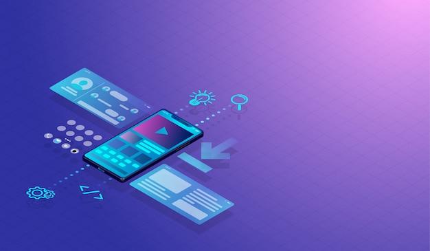 Conceito de design do smartphone ui-ux e aplicação