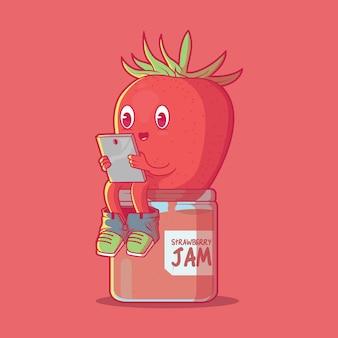 Conceito de design engraçado de tecnologia de ilustração de geléia de morango
