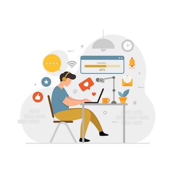Conceito de design freelancer on-line de ilustração vetorial plana para criador de conteúdo
