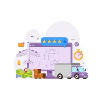 Conceito de design global de entrega e serviço logístico