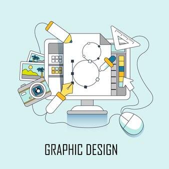 Conceito de design gráfico: computador e elementos de design em estilo de linha
