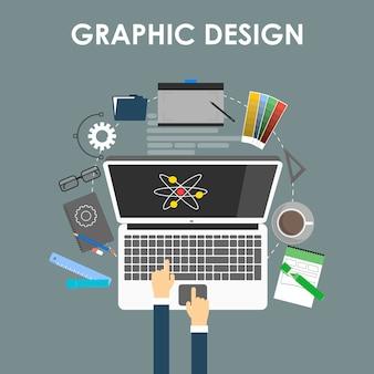 Conceito de design gráfico, ferramentas de design e software em design plano com equipamentos e instrumentos de design cercados por computador.