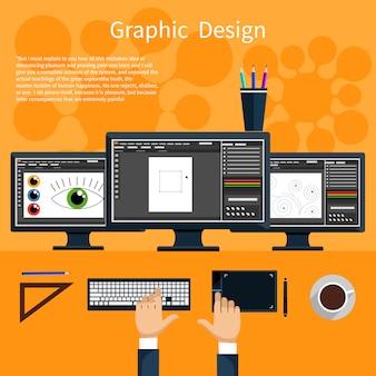 Conceito de design gráfico, ferramentas de designer e software em design plano com computador rodeado de equipamentos e instrumentos de design