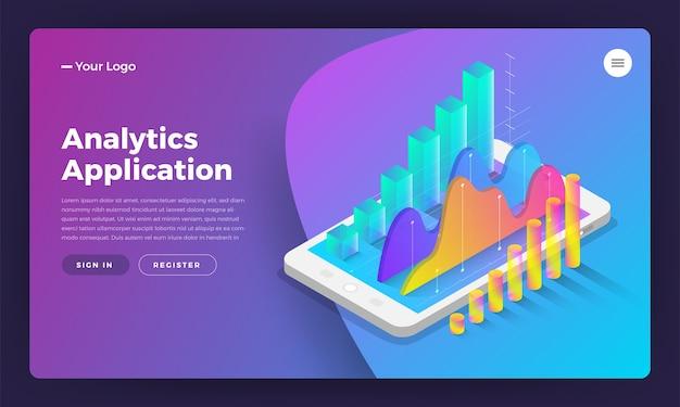 Conceito de design isométrico da página de destino ferramentas de análise de aplicativos móveis