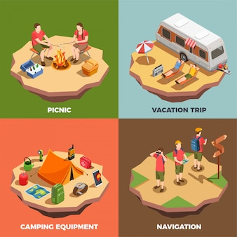 Conceito de design isométrico de acampamento caminhadas com composições de personagens humanos e ilustração de itens relacionados a viagem