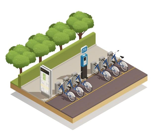 Conceito de design isométrico de aluguel de bicicleta