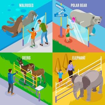 Conceito de design isométrico de animais de zoológico