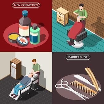 Conceito de design isométrico de barbearia