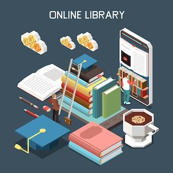 Conceito de design isométrico de biblioteca online com pilha de tutoriais cobertos com chapéu de magistratura sob ícones de nuvem isométrica