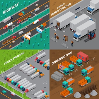 Conceito de design isométrico de caminhões