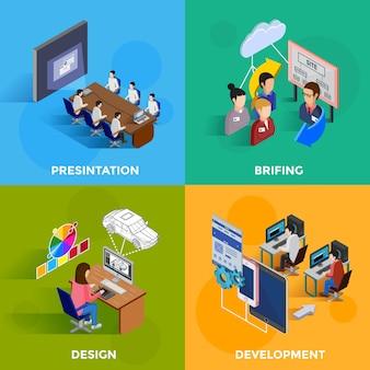 Conceito de design isométrico de desenvolvimento