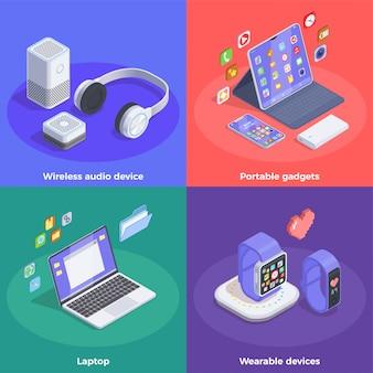 Conceito de design isométrico de dispositivos modernos com texto e imagens coloridas de relógios inteligentes e ilustração de computadores portáteis