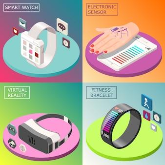 Conceito de design isométrico de eletrônica portátil