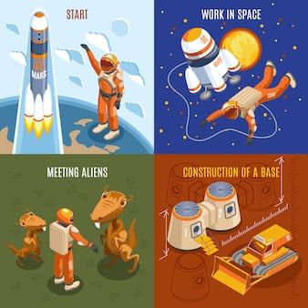 Conceito de design isométrico de exploração espacial
